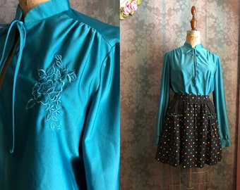 Sz S-M Set-of-Vtg 70s Blouse & 80s Skirt Polka Dotted Rainbow Skirt Embroidered Teal Top with Bow