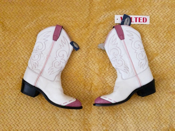 Sz. 7 80s Genuine Leather Pink and White Cowboy Bo