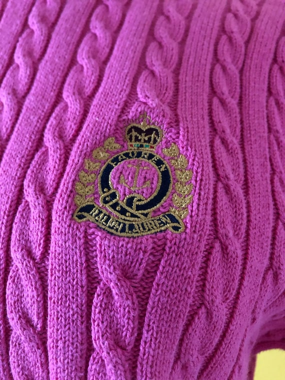 S-M 80s Ralph Lauren Embroidered Logo Pink Tunic - image 6