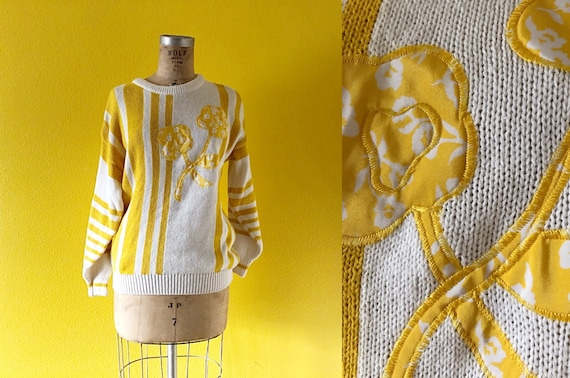 S-L 70s Embroidered Flower Sweater in Stripes & Mu