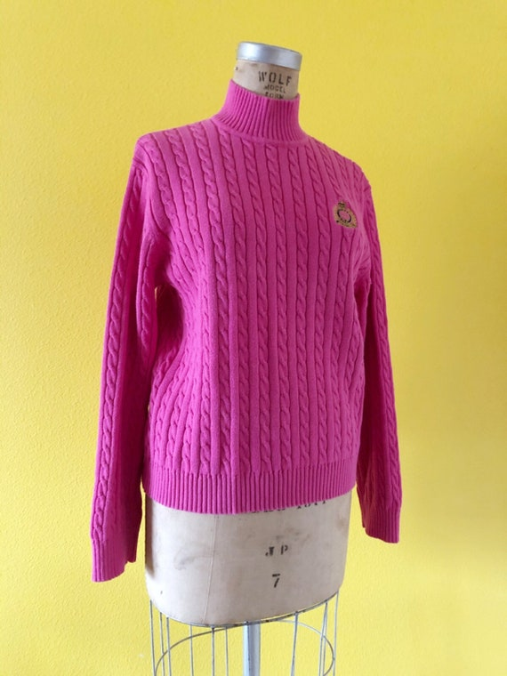 S-M 80s Ralph Lauren Embroidered Logo Pink Tunic - image 8