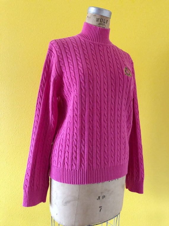 S-M 80s Ralph Lauren Embroidered Logo Pink Tunic - image 9