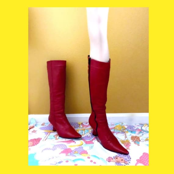 "Sz. 9 3/4"" footbed 60s Red Pointy High Gogo Leathe"