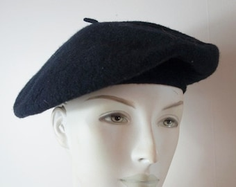 bb92c1655e2e9 Vintage ARLIN Classic French Black Wool Beret Hat