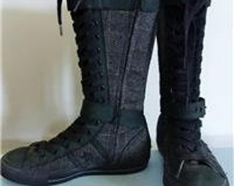 1557b2fa9c83 European CONVERSE All Stars Buckles Zippered Knee High Boots Sneakers Shoes  Plaid EUC Size 8