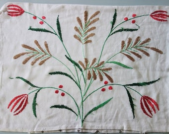"""Vintage 16x22"""" Linen Pillow or Cushion Cover Case with Floral Hand Embroidery and Cut work"""