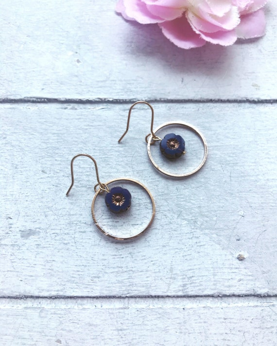 Gold Hoop Earrings with Flower Bead Purple Flower Gold Hoop | Etsy