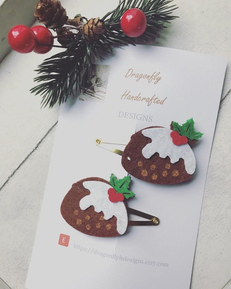 Christmas Pudding Hair Clips / Christmas Hair Clips / Handmade image 0