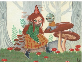 Woodland Rendezvous - A5 Print - hannakin mushroom forest watercolour gouache illustration