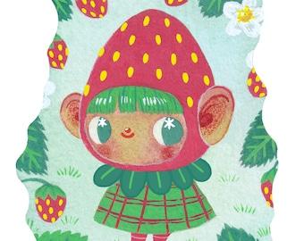 Strawberry Patch - Mini Print - Hannakin illustration - gouache berry girl