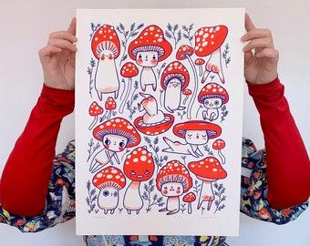 Mush Butts - A3 Print - hannakin red blue mushroom mushman shiny ink illustration