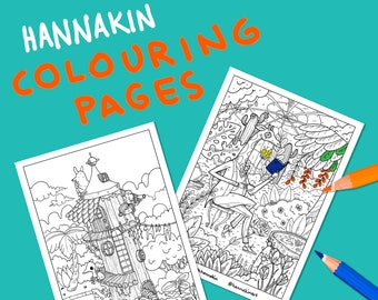 10 Colouring Pages - DIGITAL DOWNLOAD - Colours With Hannakin printable .PDF - whimsical illustration colouring activity