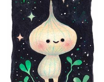 One Wee Garlic- Mini Print - Hannakin illustration - coloured pencil bulb vegetable in the night