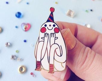 Party Pin (ROYAL) - hannakin white hard enamel pin - happy joyful party hat fun silly confetti birthday
