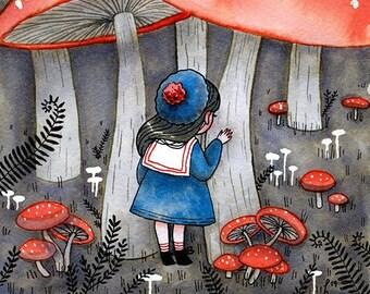 Hide and Seek - A4 Print - hannakin watercolour red mushroom forest fern nature whimsical