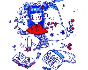 The Botanist - Mini Print - Hannakin illustration - ink red blue girl garden plants nature botany cuttings foraging