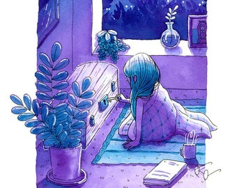 Unlocking Secrets- A5 Print - hannakin purple ink illustration - night moonlight key chest mystery