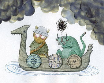 Eldric and the Reluctant Snörg - A5 print - Viking monster dragon adventure grumpy  beard hipster sword shield boat clouds collage