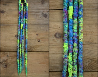 Neon Clip in Dreads - synthetic dreads - blue yellow violet