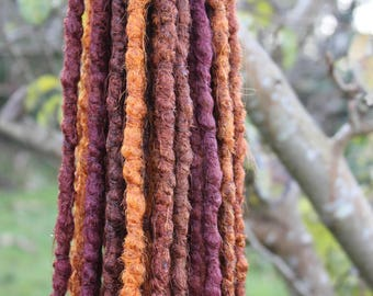 Autumn Rust DE x20 Crochet Synthetic Dreads - red orange auburn burgundy half set