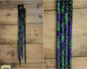 Purple Black Green Clip in Dreads - Synthetic dreads