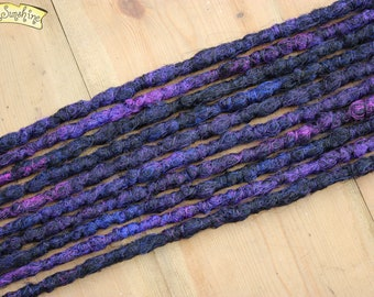 Galaxy SE x10 Crochet Synthetic Dreads - black purple blue accent