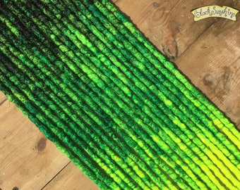 Black and Green DE x10 Crochet Synthetic Dreads - yellow accent
