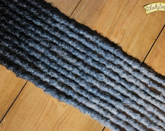 Black and Blue Grey SE x10 Synthetic Crochet Dreads - transitional accent