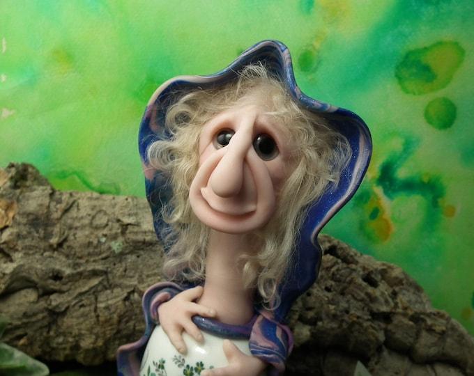 "Wise Sage HobbGobb 'Dorcas' of 'GrindenWold' 7"" Art Doll OOAK Sculpt by Sculpture Artist Ann Galvin"