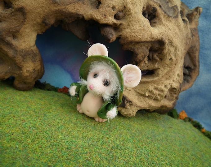 "Furred JourneyMouse 'Mattie' in green jacket 2"" OOAK Sculpt by Sculpture Artist Ann Galvin Mouse"