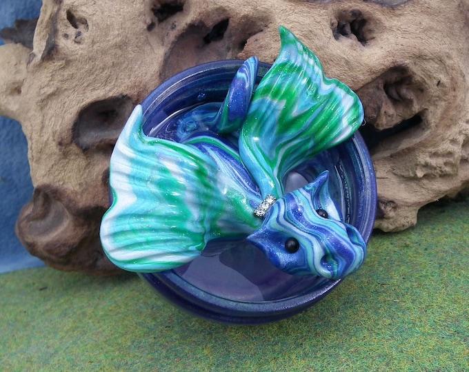 "Dragon 'Honesty' 3"" in dew-pond with 'water' OOAK Sculpt by Sculpture Artist Ann Galvin"