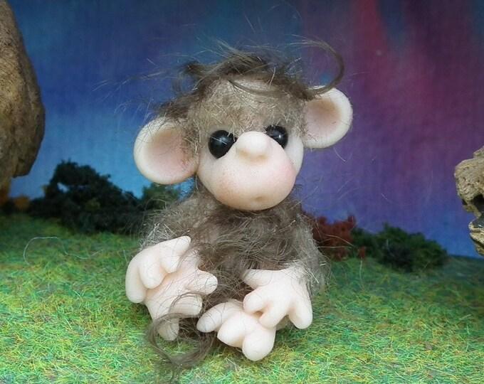 """Furred Fingertip Baby Chimp 'Thorah' 1"""" OOAK Sculpt by Sculpture Artist Ann Galvin"""