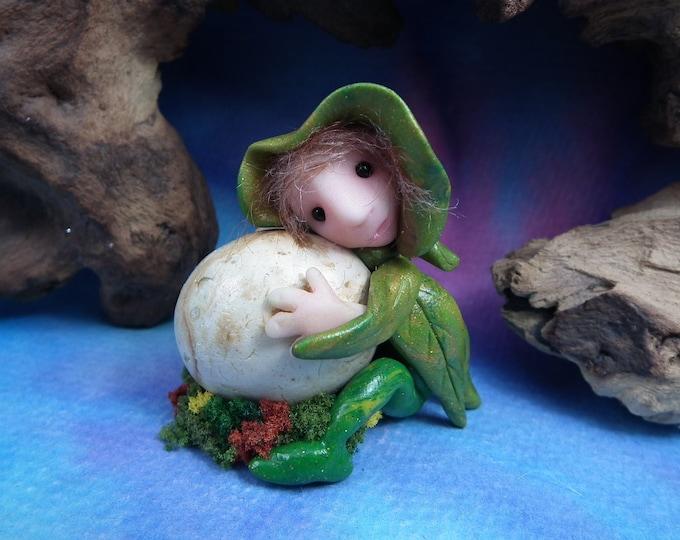 Spell-reversal Sprite 'Isolde' with hatching Dragon's Egg OOAK Sculpt by Sculpture Artist Ann Galvin