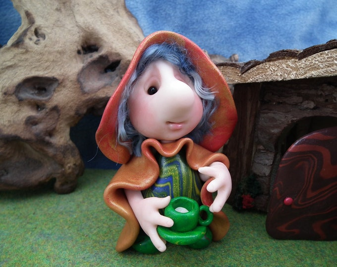 """Helpful Gnome 'Charity' with a cup of tea in hand 4"""" OOAK Sculpt by Sculpture Artist Ann Galvin Art Doll"""