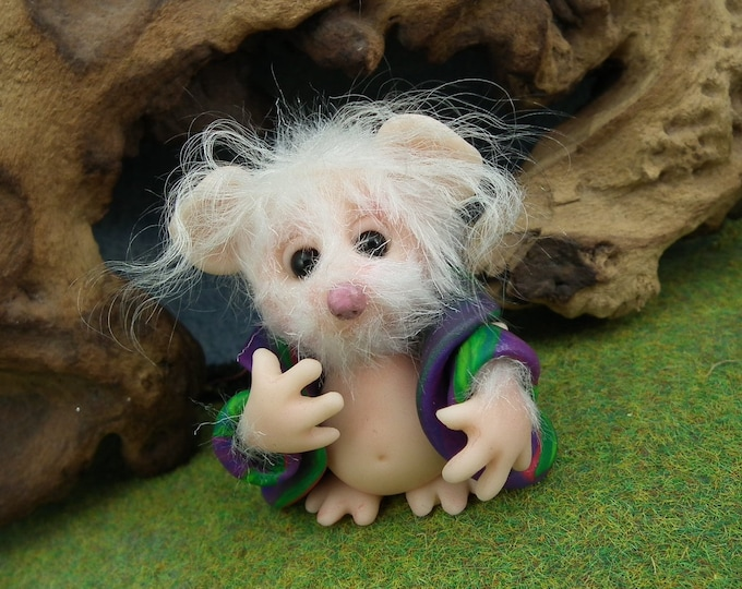 """Furred JourneyMouse 'Joseph' in coat-of-many-colours 2"""" OOAK Sculpt by Sculpture Artist Ann Galvin Mouse"""