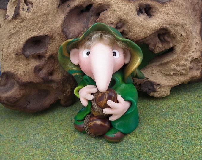SchnozKin Acorn Forager Gnome 'Dougal' * long-nosed Gnome * OOAK Sculpt by Artist Ann Galvin