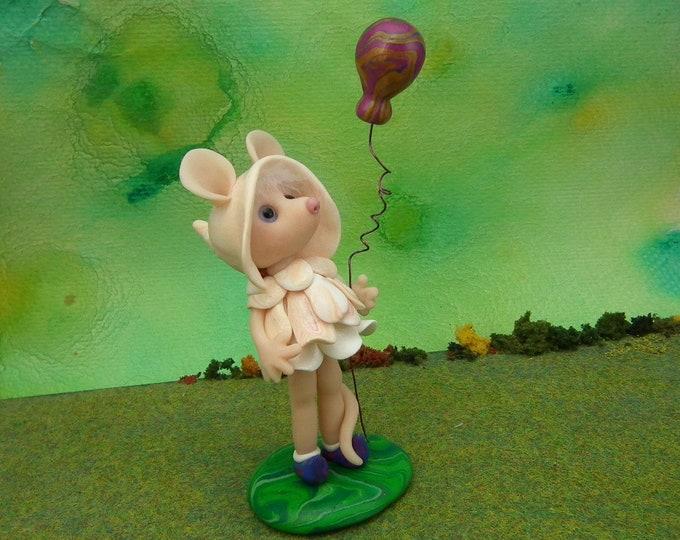 Sweet Mouseling Elf 'Lucinda' with balloon OOAK Sculpt by Sculpture Artist Ann Galvin