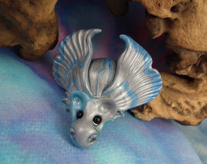 """Precious Striped Baby Dragon 'Glyneth' 3"""" OOAK Sculpt by Sculpture Artist Ann Galvin"""