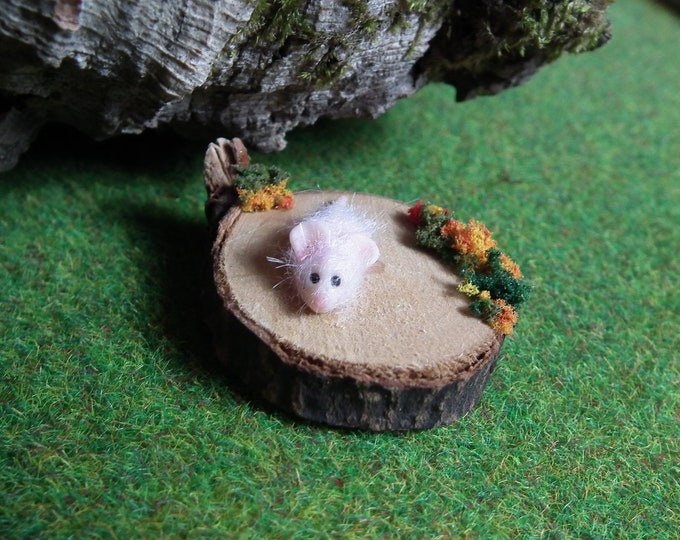 SALE Spellbound Mouse 'Isolde' on Wizards' chopping block OOAK Sculpt by Sculpture Artist Ann Galvin