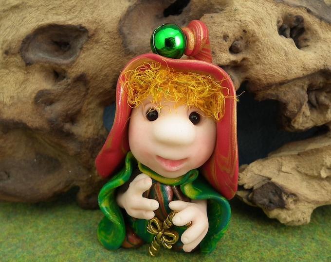 "Christmas Gnome 'Horris' with bell Santa's helper 2+1/2"" OOAK Sculpt by Sculpture Artist Ann Galvin"