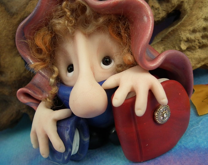 Bookish Library Hobblin Gnome 'Libbry' with tumbled curls and books OOAK Sculpt Sculpture by Artist Ann Galvin Goblin