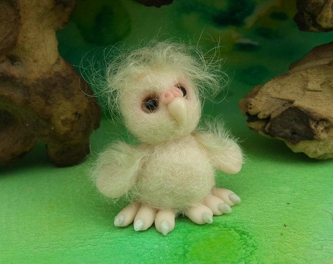 Tiny Beaky Owl 'Noleen' Feathered & Furred Clay Owlet OOAK Sculpt Ann Galvin
