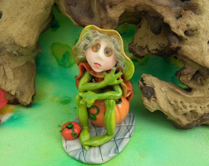 Earth Nymph 'Wynstrel' with pumpkins Woodlander Series OOAK Sculpt by Artist Ann Galvin