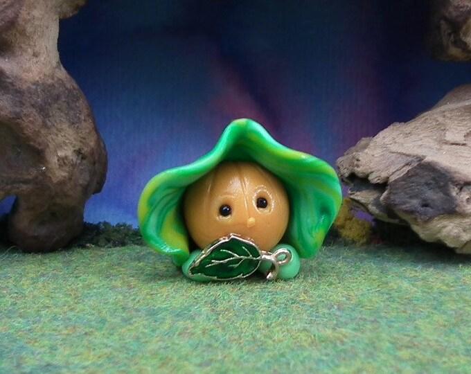 "Tiny PumpkinHead Gnome 'Dilys' 1+1/4"" Gnome Village by Artist Ann Galvin"