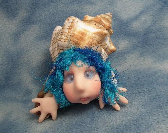 """Merryll d'Mer Urchin Elf Mermaid in a 5"""" shell OOAK Sculpt by Sculpture Artist Ann Galvin Art Doll"""