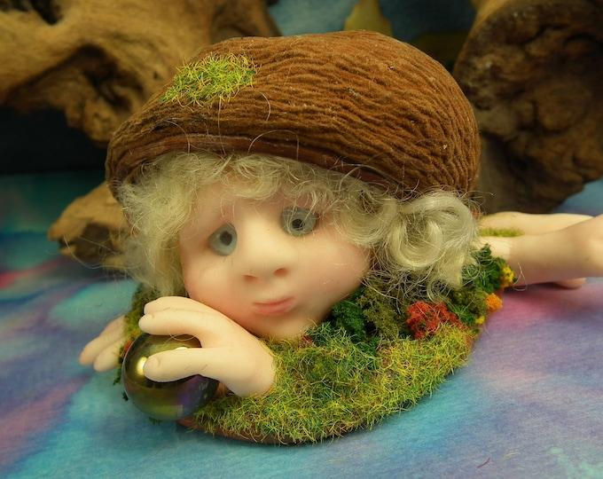 Hairy Troll in a Grassy Knoll 'Glenyss' OOAK Sculpt Sculpture by Artist Ann Galvin Goblin