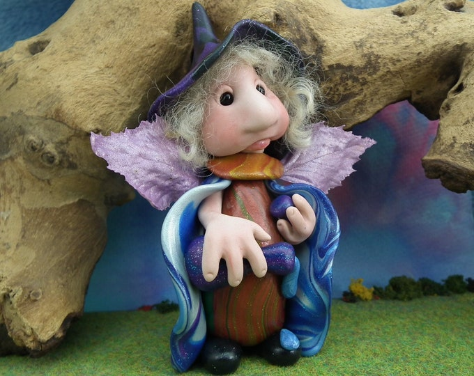 """Winged Witchling 'Maeve' HedgeHag 4"""" with potion bottle OOAK Sculpt by Sculpture Artist Ann Galvin"""