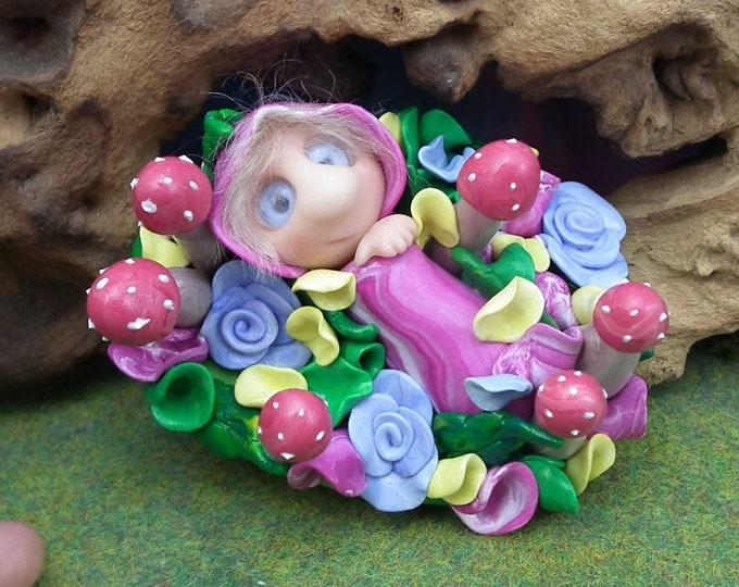 Baby Elfling 'Posie' Infant bundle in flowery dell crib swaddle OOAK Sculpt by Sculpture Artist Ann Galvin