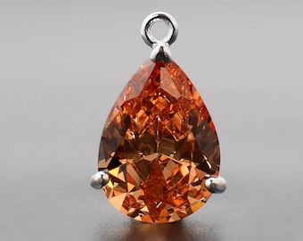 2 Pear Drop Crystal Glass Pendant P2030029 Black Color Plated over Brass Prong Setting. 15mm