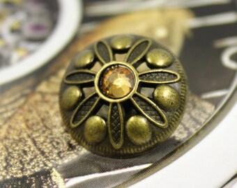 Metall Knöpfe messing bronze geschwärzt mit weißem Kristall 6 Stück